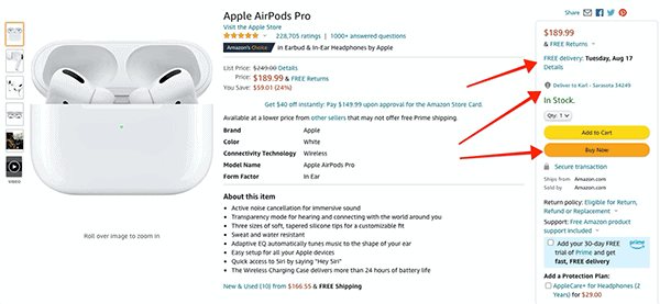 amazon one click checkout example
