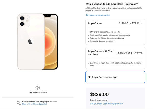 apple upselling applecare during checkout